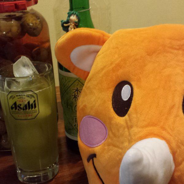 梅酒と緑茶割りとツノっち!