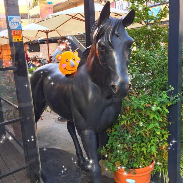 ツノっち、お馬さんに乗っちゃった(≧▽≦)
